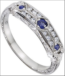 Whitehouse Brothers Wedding Ring with Geometric Patterning and Sapphires
